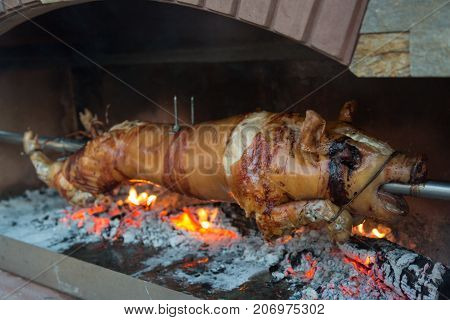 Suckling piglet on a spit over a wood fire.