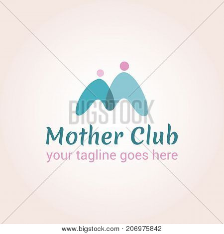 Two intersecting figures of people forming the letter M. Vector logo template for mother club care during pregnancy protection or pregnancy support. EPS10. Creative logotype.