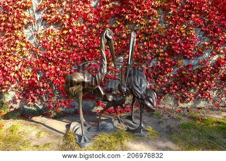 fantastic fantasy sculptures in the park in the village of Buki Ukraine. October 11 2014