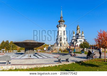 view of a modern church in the village of Buki Ukraine October 11 2014