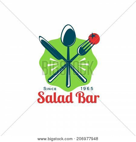 A fork with a slice of tomato, a spoon and a knife in a green badge. Fast food cafe icon. Bistro restaurant logo. Snack emblem.