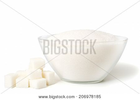 White Sugar In Glass Bowl On White