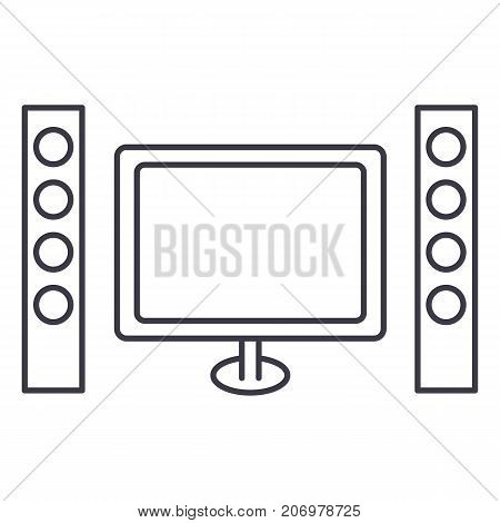 cinema, home theater vector line icon, sign, illustration on white background, editable strokes
