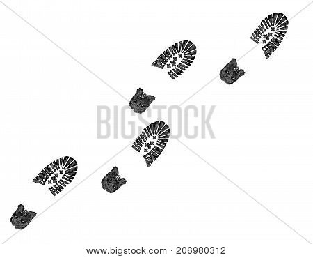 Shoe Print Isolated On A White.concept Silhouette Of Boots