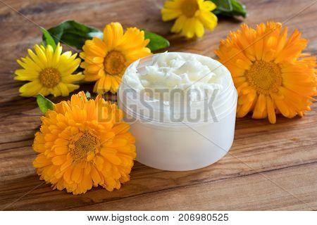 A Jar Of Calendula Cream, With Calendula Flowers In The Background