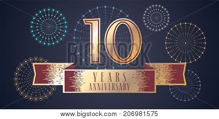 10 years anniversary vector icon logo. Graphic design element illustration with ribbon and golden color number for 10th anniversary celebration