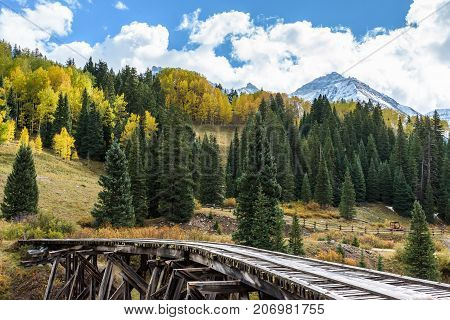 Autumn Scenery in the Rocky Mountains of Colorado - Abandoned Trestle Bridge at Trout Lake Near Telluride