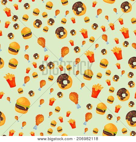 Colorful cartoon fast food seamless pattern restaurant tasty american cheeseburger background meat and unhealthy burger meal vector illustration. Junk drink snack french fried dinner eating.