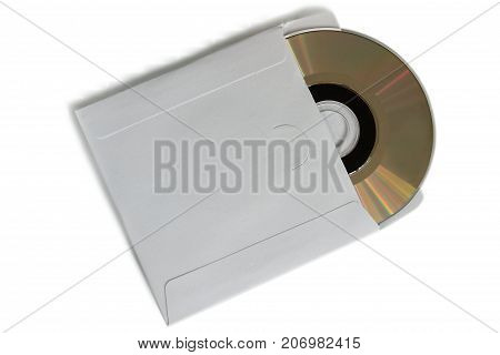 close up of a cd dvd disc on white background. Close-up. insulation.