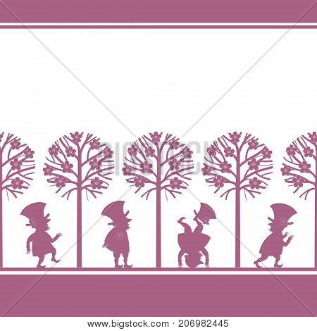 Endless border with funny gnome, leprechaun, dwarf silhouettes in spring garden, cartoon vector illustration on white background. Endless border with funny gnomes, leprechauns, paper cup design