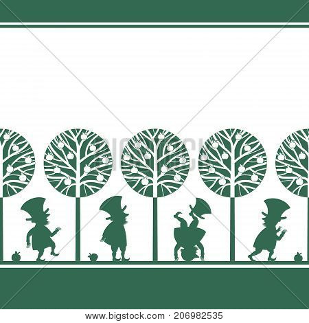 Endless border with funny gnome, leprechaun, dwarf silhouettes in summer garden, cartoon vector illustration on white background. Endless border with funny gnomes, leprechauns, paper cup design