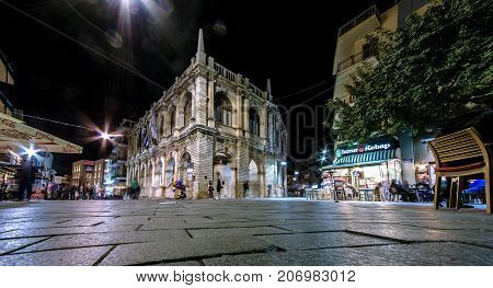 HERAKLION, CRETE ISLAND, GREECE - MARCH 27, 2017: The Heraklion Town Hall at Pl. Agiou Titou street, built in 17th century by the General Provisioner Frangisko Morosini.
