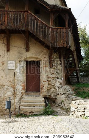 Sighisoara Transylvania Romania - September 12 2017: medieval old town surrounded by defensive walls. Architectural detail.