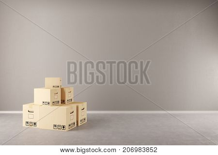 Relocation or packing boxes in empty apartment room for forwarding agency (3D Rendering)