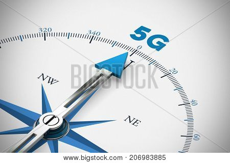 5G mobile radio network broadband concept on a compass
