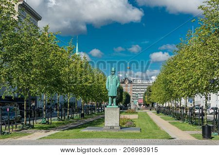 Copenhagen Denmark - september 3 2017: Sankt Annæ Plads (St. Ann's Square) is a public square which marks the border between the Nyhavn area and Frederiksstaden neighborhoods of central Copenhagen.