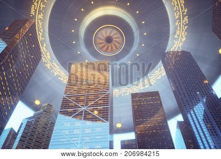 3D illustration. Space alien ship UFO over skyscrapers. Conceptual image of ufology.