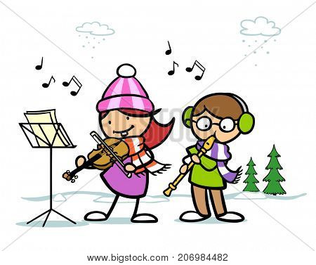 Kids sing christmas songs as winter illustration