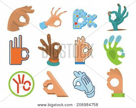 Ok hand human sign okey yes agreement signal vector illustration. Silhouette of human body part showing symbol of all ok vector character.