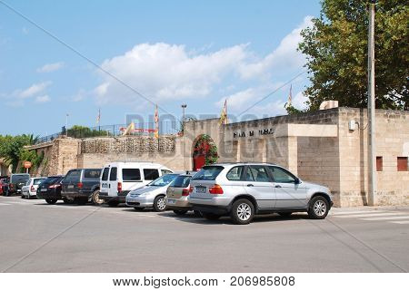 MAJORCA, SPAIN - SEPTEMBER 8, 2017: The exterior of the Plaza de Toros bullring in Alcudia on the Spanish island of Majorca. In 2017 the Balearic islands passed major restrictions on bull fighting.