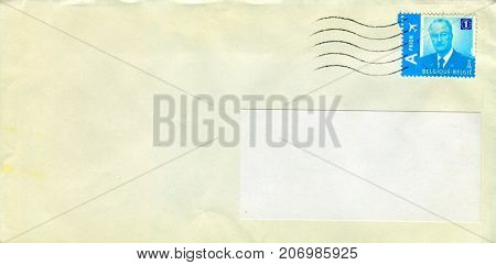 GOMEL, BELARUS - AUGUST 12, 2017: Old envelope which was dispatched from Belgium to Gomel, Belarus, August 12, 2017.