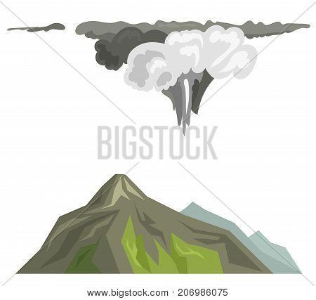 Volcano magma nature blowing up with smoke volcanic eruption lava mountain vector illustration. Vulcan activity fire and smoke elements hot magma crater active explosion landscape.