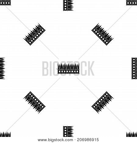 Regal crown pattern repeat seamless in black color for any design. Vector geometric illustration