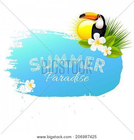 Summer Banner Blot With Flowers