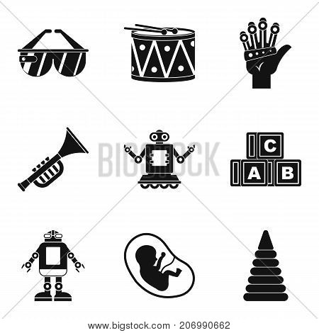 Rich childhood icons set. Simple set of 9 rich childhood vector icons for web isolated on white background