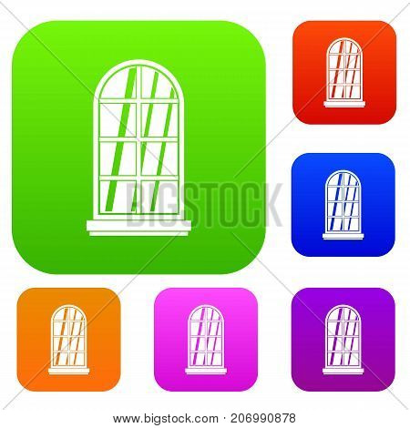 White window frame set icon color in flat style isolated on white. Collection sings vector illustration
