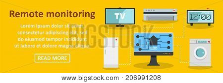 Remote monitoring banner horizontal concept. Flat illustration of remote monitoring banner horizontal vector concept for web design