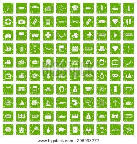 100 wealth icons set in grunge style green color isolated on white background vector illustration