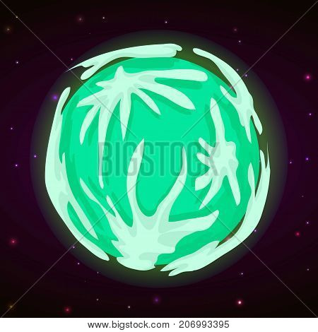 Green planet concept background. Cartoon illustration of green planet vector concept background for web