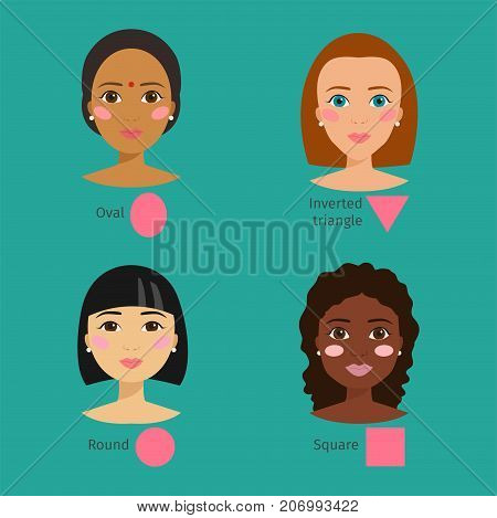 Set of different woman face types shapes female head vector character illustration. Cosmetology avatar shape square makeup. Perfect fresh skin pure beauty attractive model.