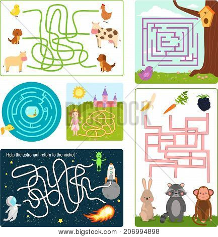 Labyrinth maze conundrum shape rebus logic game search mystery funny puzzle for children vector illustration. Preschool education quest amusement play task.