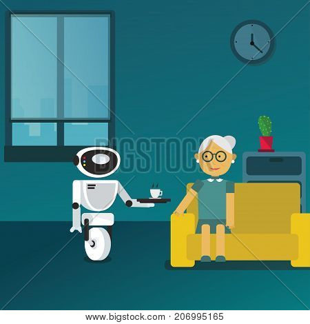 Domestic robot brings cup of coffee to his old aged owner at home. Personal robot assistance futuristic concept illustration vector.