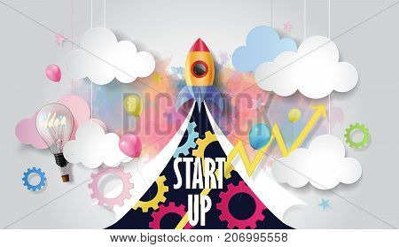Rocket ship launch among light bulb, balloon, graph and business elements on watercolor background, Business startup concept, paper cut design style, vector illustration