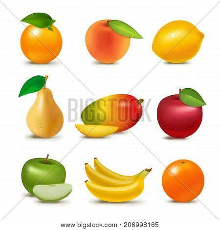 Fresh fruits slice realistic juicy apple healthy vector illustration. Slice green greengrocery isolated ripe melon. Vegetarian diet freshness lemon dessert. Water refreshment delicious fruit.