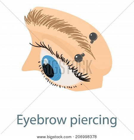 Eyebrow piercing icon. Isometric illustration of eyebrow piercing icon for web