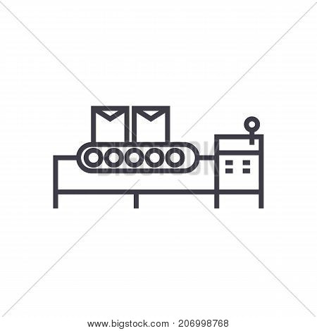 conveyor belt vector line icon, sign, illustration on white background, editable strokes