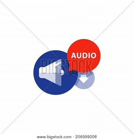 Listen audio flat icon, file download arrow, music concept, podcasting