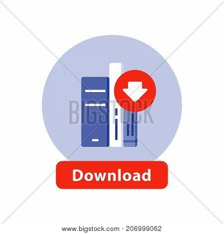 Download e-book line icon, literature book archive vector