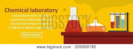 Chemical laboratory banner horizontal concept. Flat illustration of chemical laboratory banner horizontal vector concept for web design