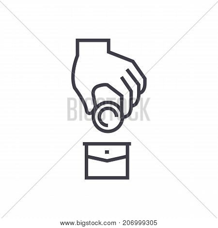 corruption, money in pocket, donation vector line icon, sign, illustration on white background, editable strokes