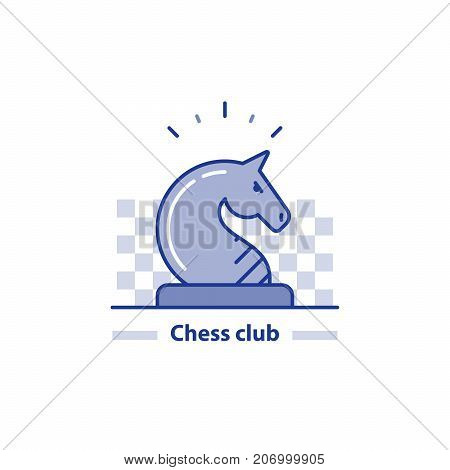 Chess knight horse, chess club concept vector line icon
