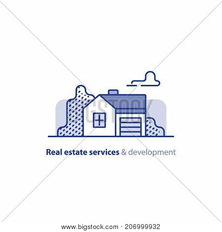 Small detached house with garage, suburb summer house icon, one floor,  real estate vector line illustration