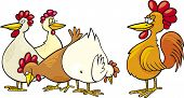 cartoon vector Illustration of rooster and hens poster