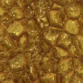 Computer generated illustration of chunks of gold ore poster