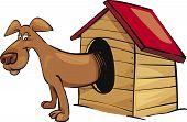 Cartoon vector illustration of dog in kennel poster