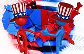 Uncle Sam Thumbs Down Uncle Sam Thumbs Up Original 3D Characters Illustration poster
